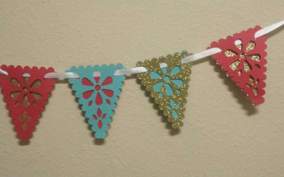 Floral Garland Red Gold Aqua Perfect for Elena of Avalor birthday party backdrop or wall decor