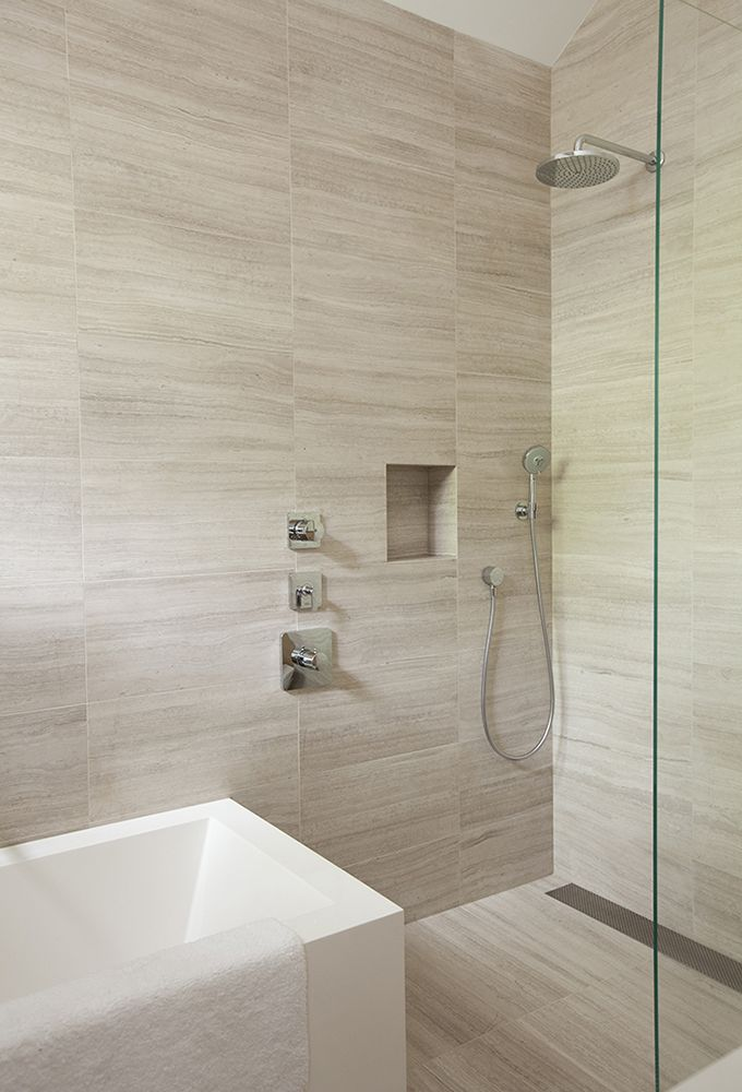 Chic tiles in a wetroom or bathroom