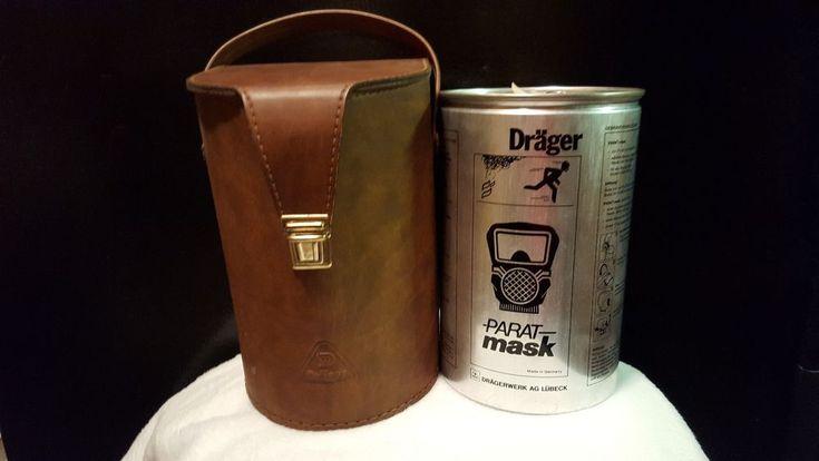 Vintage 80's Sealed/Unopened Drager Parat Mask Smoke Mask in Canister w/case!