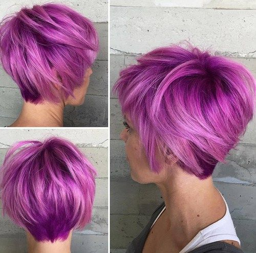 Short Layered Violet Bob