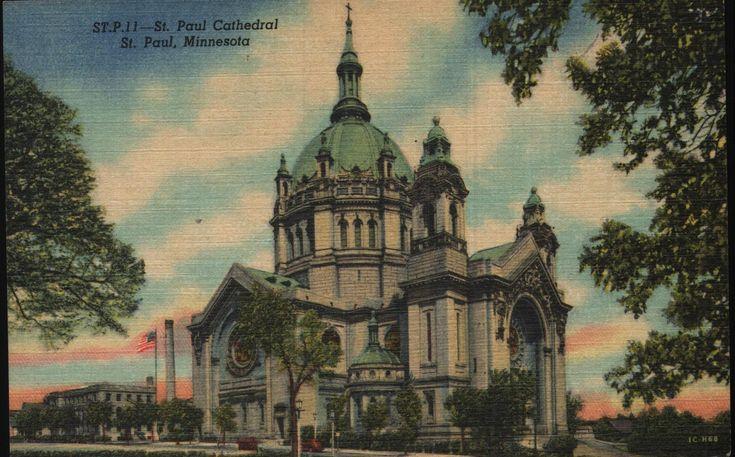 Vintage Linen Postcard St Paul Cathedral St Paul Minnesota