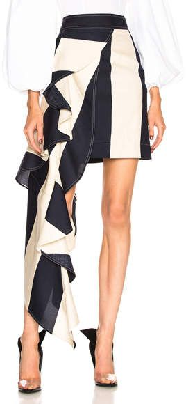 Calvin Klein 205W39NYC Large Stripe Print Ruffle Skirt $1,900  100% silk Made in Italy Dry clean only Hidden side zip closure Ruffled fabric overlay detail follow the link for more.