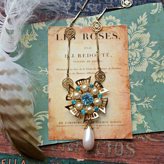 Pinwheel Upcycled Assemblage Necklace Shabby Chic Aqua Blue Rhinestones Pearl Drop Altered Jewelry Repurposed