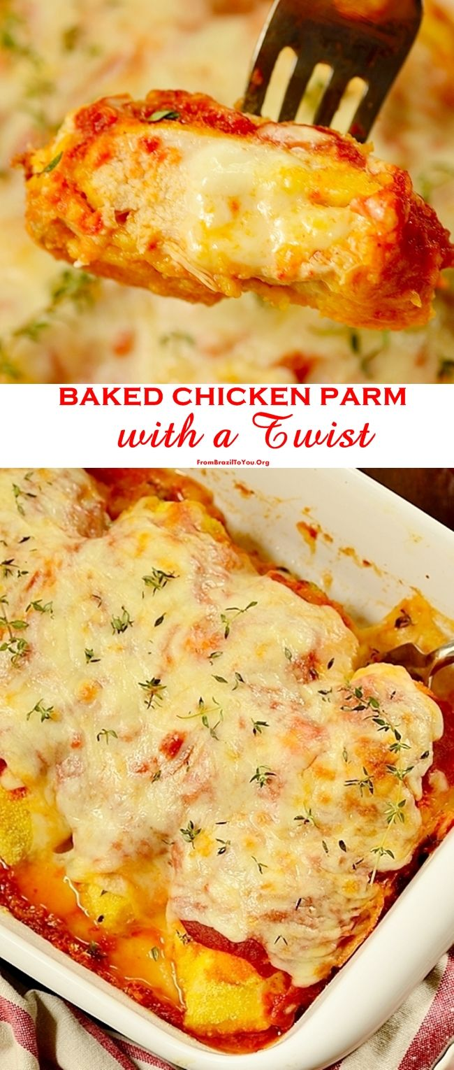 Baked Chicken Parm with a Twist - Eight-ingredient and quick, breaded with cornmeal (Gluten-free) and stuffed with lots of cheese!  Chicken is baked directly in the oven, saving time and the stovetop mess. #Saucesome #sponsored