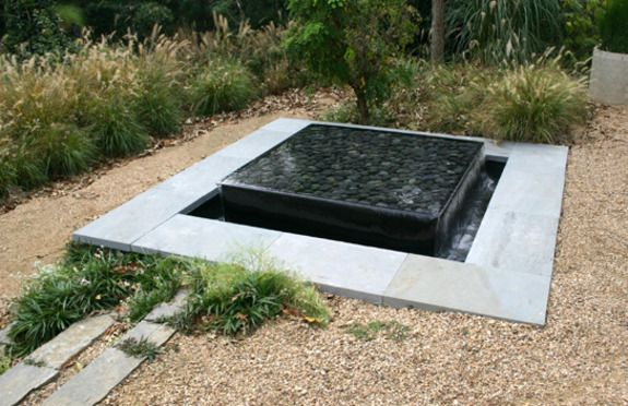 modern, square, sunken pond, layered, water feature