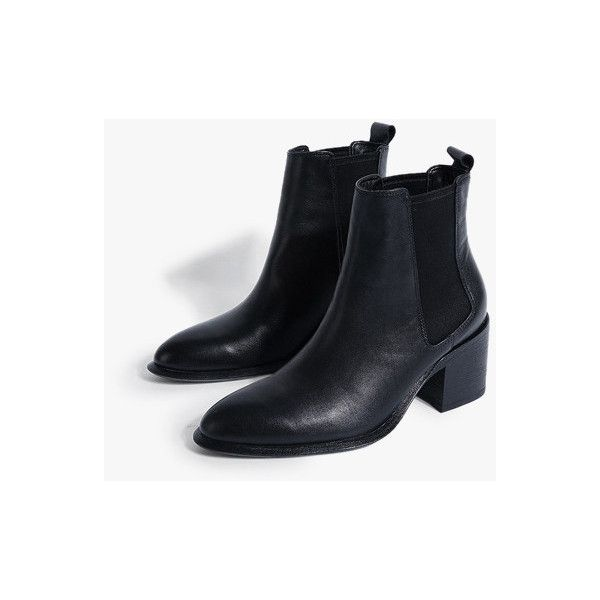 Black Leather Chelsea Boots (325 CAD) ❤ liked on Polyvore featuring shoes, boots, ankle booties, black, beatle boots, high heel ankle booties, black leather boots, leather boots and leather ankle booties
