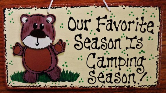 Our Favorite Season WOODLAND Animal CAMPSITE SIGN Camp Camping Camper Plaque