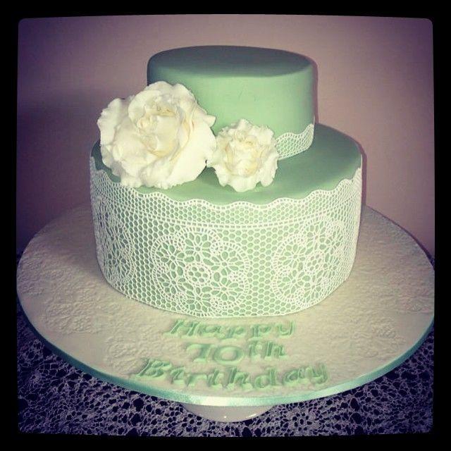 Lace and Flower Cake #imadeacake