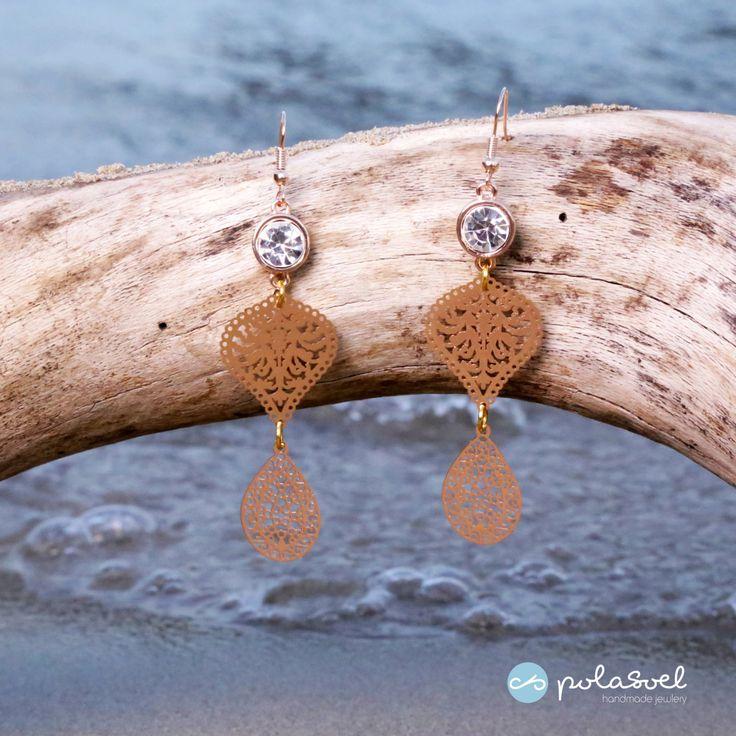 Gold plated dangle and drop earrings /chandelier earrings /fashion and chic earrings/laser cut earrings by polasoeljewelry on Etsy