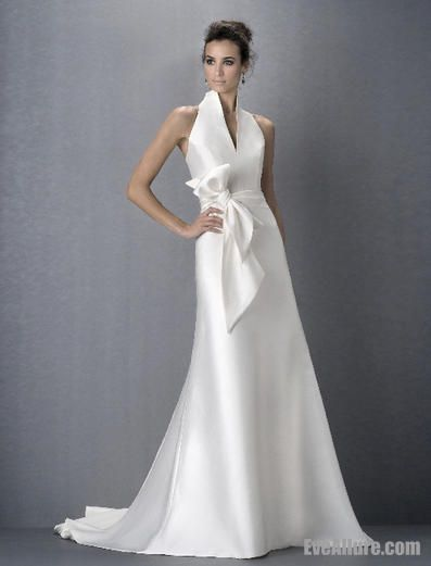 Simple A-line High Neck Satin Wedding Dress with Sash – EveAllure