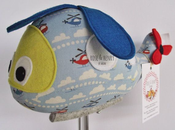 This helicopter softie by Rose & Henry By Mum would look so cute in a transport themed room.