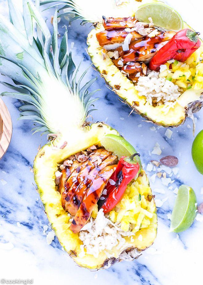 Teriyaki Chicken Pineapple Boats Recipe | Cooking LSL