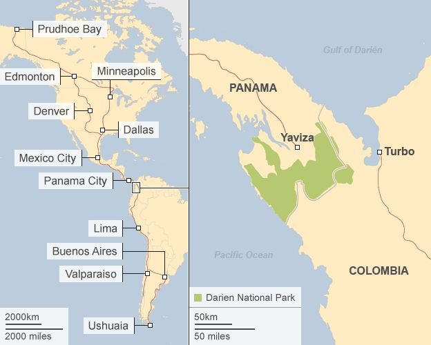 Split map showing Pan-American Highway (left) and Darien National Park in Panama (right)