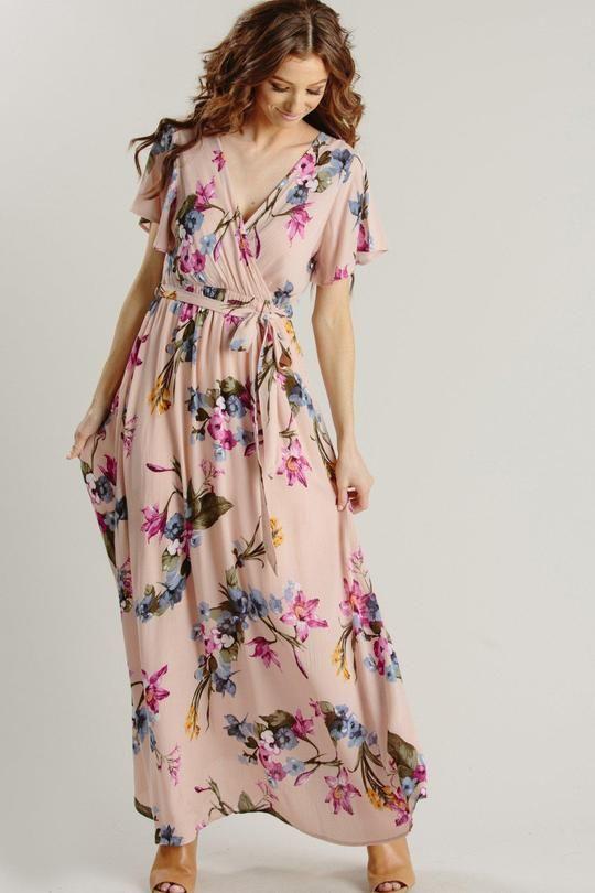 de590944104a4 Bethany Blush-Blue Floral Wrap Maxi Dress in 2019   Valentine's ...