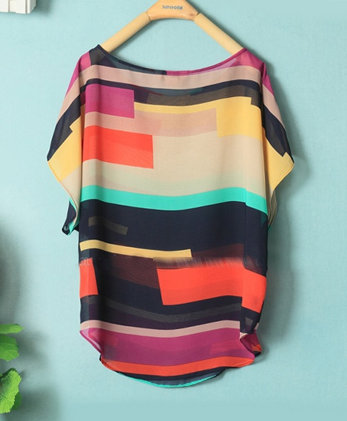 Loose Chiffon Shirt :}: Color Blocking, Matching Loose, Dream Closet, Pretty Colors, Sammydress 8 93, Chiffon Shirt, Loose Chiffon, Scoop Neck, Color Matching