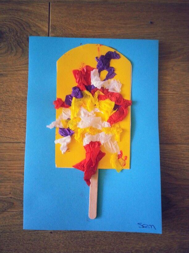 Thema zomer; ijsje met stokje en propjes vliegerpapier