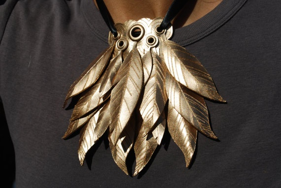 Gold Leather Feather Pendant by ErinBanwell on Etsy, $65.00