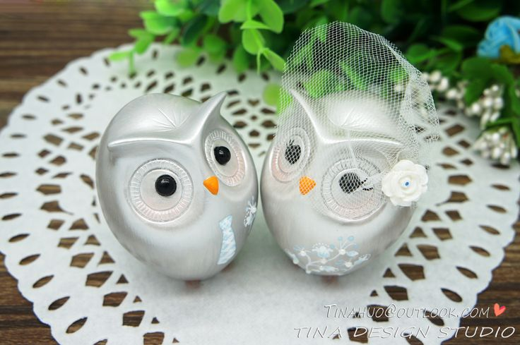 Silver Wedding Cake Toppers-25th Anniversary Wedding Cake Toppers-Custom Silver Owl Wedding Cake Toppers