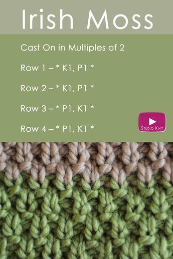 The IRISH MOSS Knit Stitch: St. Patrick�s Day Knitting DIY via @StudioKnit | Easy Free Knitting Pattern