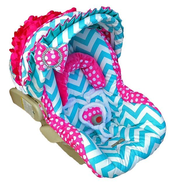 Custom car seat cover, Chevron with rose & bow. Sweet!