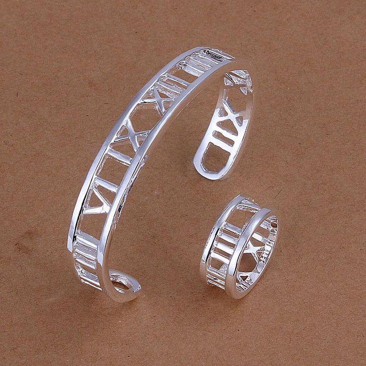 Посеребренные установить продвижение мода посеребренные римские цифры браслет + кольцо размер 8 подарки на день рождения комплект ювелирных изделий
