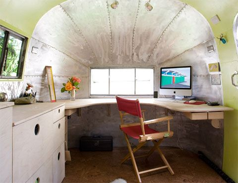 Airstream backyard office/ studio, designed by landscape architect Andreas Stavropoulous.