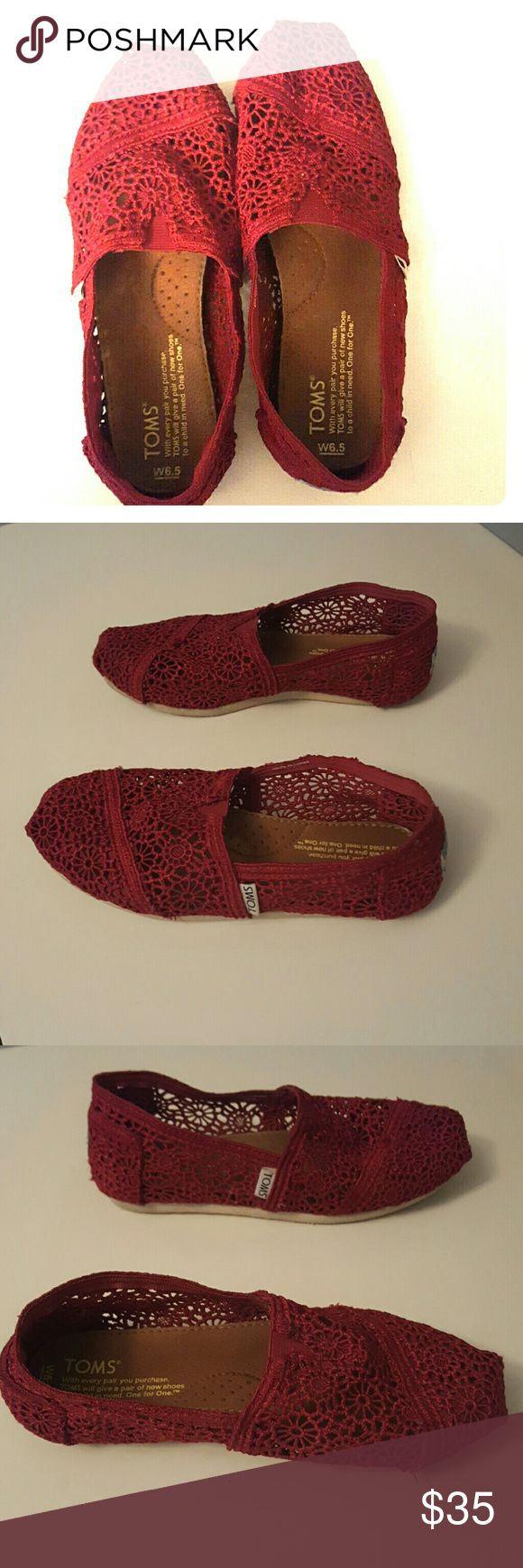 Red Crochet Toms These Toms have been worn but not a lot. Still in good condition and hardly have a foot print on the sole. Darker red rather than bright red. Size 6.5. TOMS Shoes Flats & Loafers