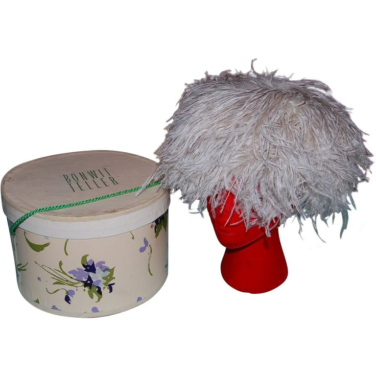 Antique Hat Boxes | Vintage Bonwit Teller Feathered Ladies Hat with Original Hat Box from ...