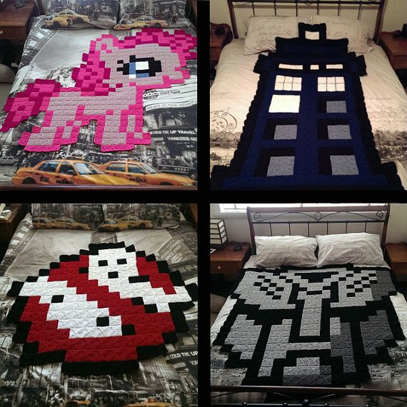 Pixel Afghan Blankets by InnerGeekCrochet