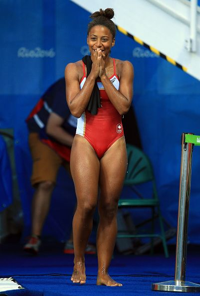 Jennifer Abel of Canada reacts as she sees her last dive score in the Women's…