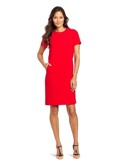 Amazon.com: Jones New York Women's Shift Dress, Scarlet Red, 6: Clothing