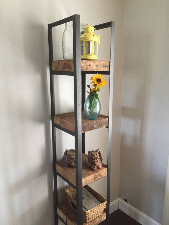 Reclaimed lumber and steel shelves by 220Grit on Etsy