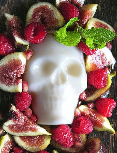 "Great idea for ""Dia De Los Muertos"" fruit salad -  skully pannacotta by chotda - for the recipe, access this  website: http://www.kqed.org/w/weircookinginthecity/recipe-01.html"