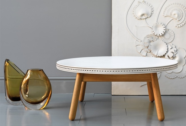 White Brogue leather coffee table by Bethan Gray for G