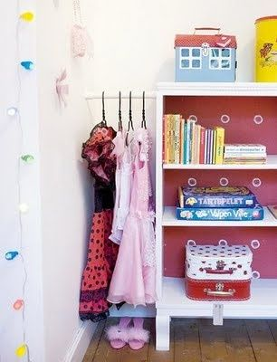 Even better idea for hanging up dress up clothes...tension rod in between wall and shelf or dresser..