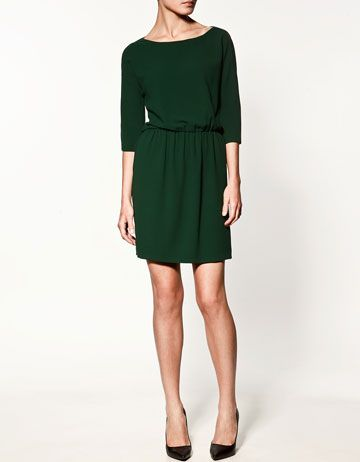 emerald zara.  what a perfect dress-I would wear this every day.