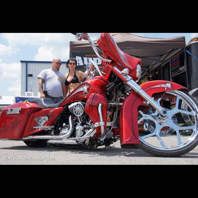 Big wheel motorcycle  at the 2014 KY Bike Rally (July 16 to 19, 2015)  **MORE Pictures http://blog.lightningcustoms.com/kentucky-bike-rally-preview/ **Info at http://www.lightningcustoms.com/little-sturgis-rally.html  #2014kybikerally