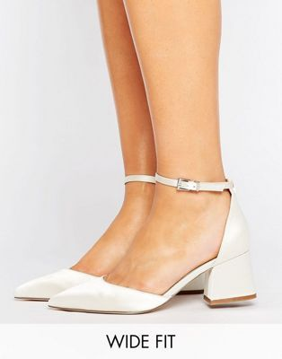 Women ASOS STARLING Wide Fit Bridal Pointed Pointed Heels Ivory Outlet Genuine