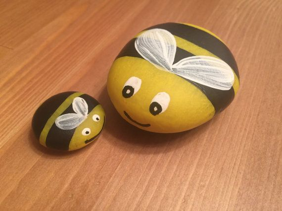 Image result for painting bees on river rocks