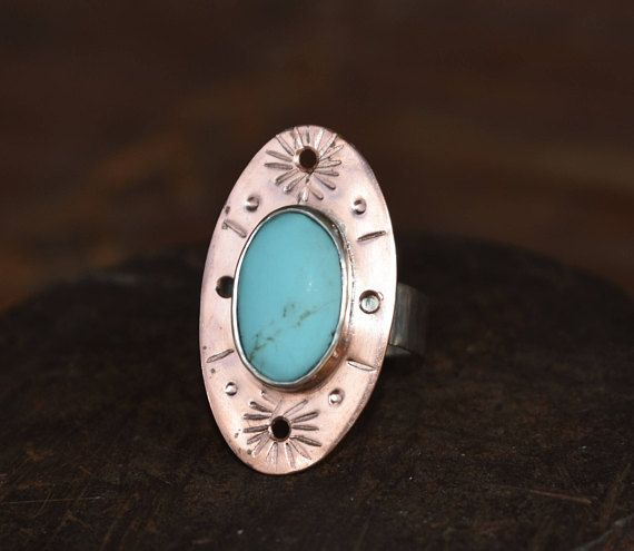 Modern Sterling silver copper natural turquoise stone