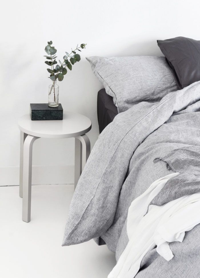 Shades of grey and white make for a very calming bedroom.  #thegoodsheet #shadesofgrey