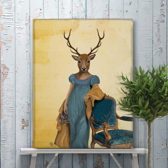 Canvas art for sale Canvas art prints wall art  Deer in Blue