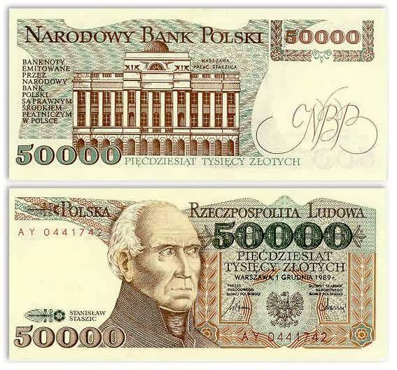 Poland  50000 Zlotych 1.12.1989 (Staszic, Palace in Warsaw)