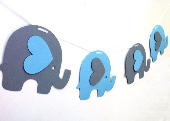 Elephant Garland. Baby shower, nursery decor, high chair, birthday party, bunting, banner, dessert table. Blue Gray Yellow Red White Pink - lots of colour combinations.