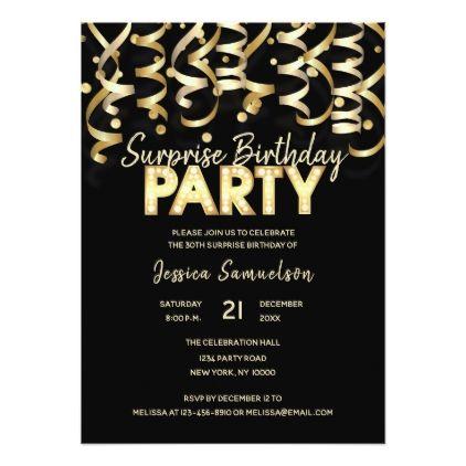 Modern Gold Black Streamer SURPRISE BIRTHDAY PARTY Card - birthday gifts party celebration custom gift ideas diy