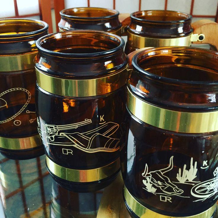 1960s Siesta Ware/Glass Mugs/Western/Beer Mugs/set of 5/Southwestern/Amber Mugs/rebellespdx by EuphoricReBelle on Etsy