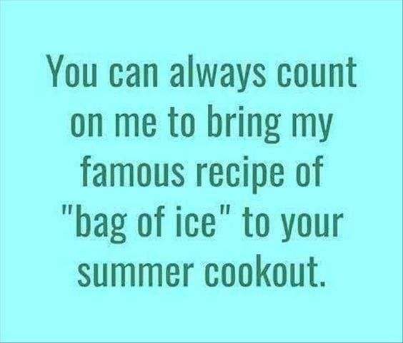 """You can always count on me to bring my famous recipe of """"bag of ice"""" to your summer cookout."""