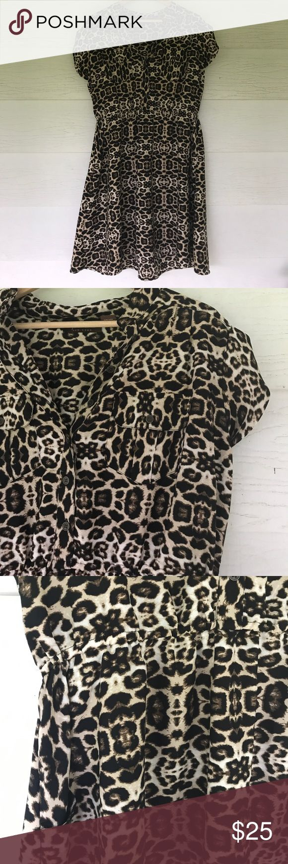 Animal print dress PLUS SIZE Size 1x. Animal print dress. Short cap sleeves. Pockets on front. Elastic waist. 22 bust 40 length. All measurements are approximate. Has cute little pockets speed central Dresses