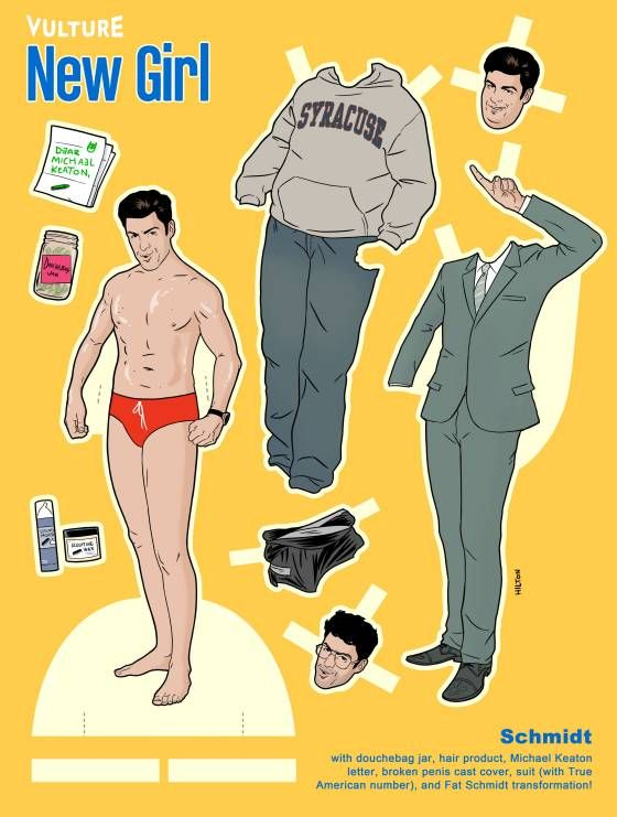 Vulture's New Girl Paper Dolls featuring Schmidt.