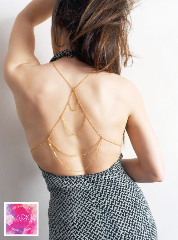 2 in 1 Statement body chain. You can wear it in the back with all your backless clothes OR you can wear it in front to accessorize your outfit amazingly!  Gold plated lead free steel unbreakable chain very good quality  The ultimate statement piece in order to impress!  ATTENTION! This piece has to be custom made in order to fit nicely on your body. Please contact me before or after placing the order to give me some necessary measurements: 1. The circumference of your bust, 2. The…